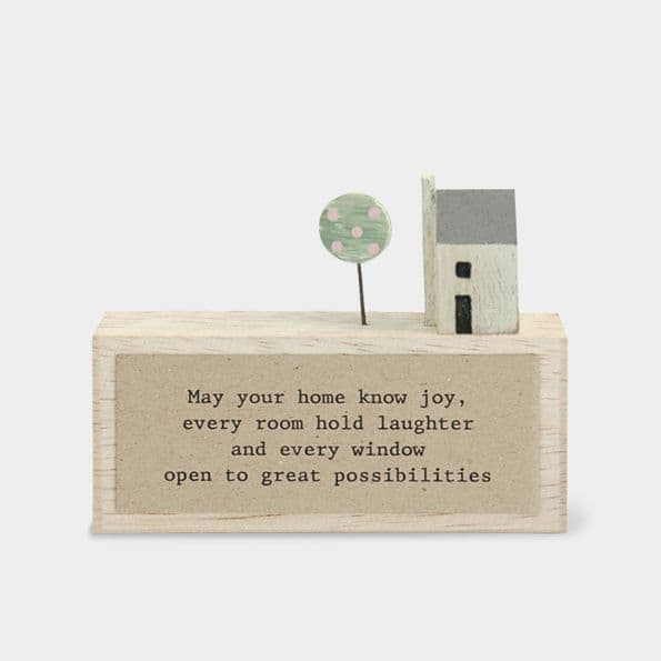 MINI Rustic Wood May Your Home Great Possibilities Ornament Decoration 11x5x2cm